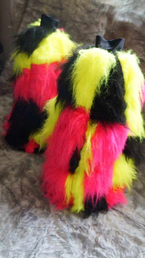Funki-B LOTS COLOURS Faux fur patchwork fluffies custom made leg warmers rave uv