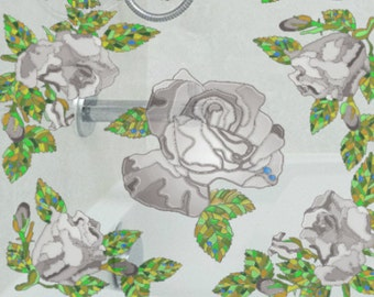 Window Decals With Stained Glass Effect, Reusable Static Window Clings, Grey Roses, Stickers for Glass Mirrors, Stained Glass Window Film