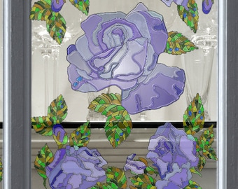 Reusable Window Decals with Stained Glass Effect, Static Window Clings, 5-Set, Violet Roses, Stickers for Glass and Mirrors, Window Film