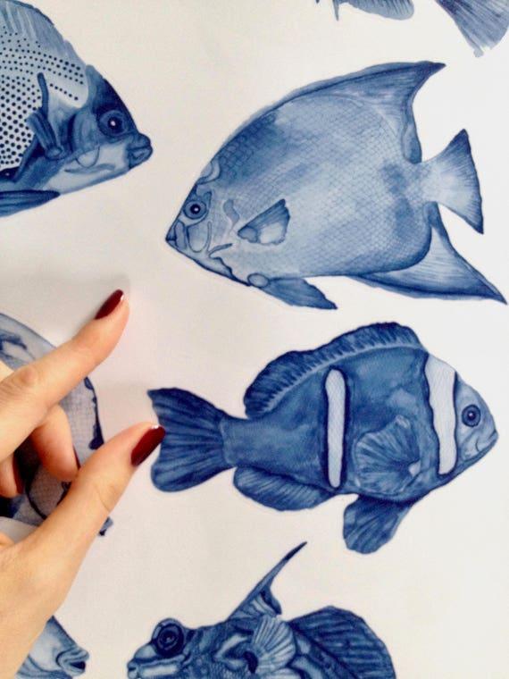 Denim Fische Wandtattoo Badezimmer ab 14,90 EUR - Fliesenaufkleber Fische -  Wanddeko fürs Bad - Möbelaufkleber - Vintage Ocean Kollektion