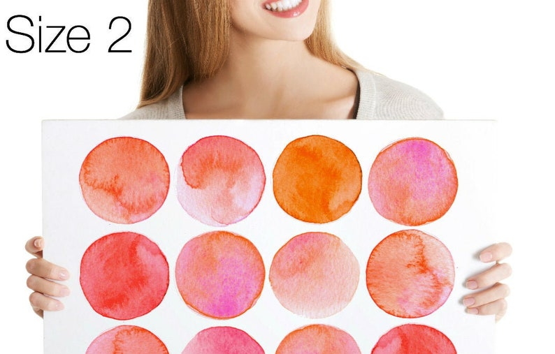 Wall Decals Watercolor Circles Shades of Red Tile Decals Size 2