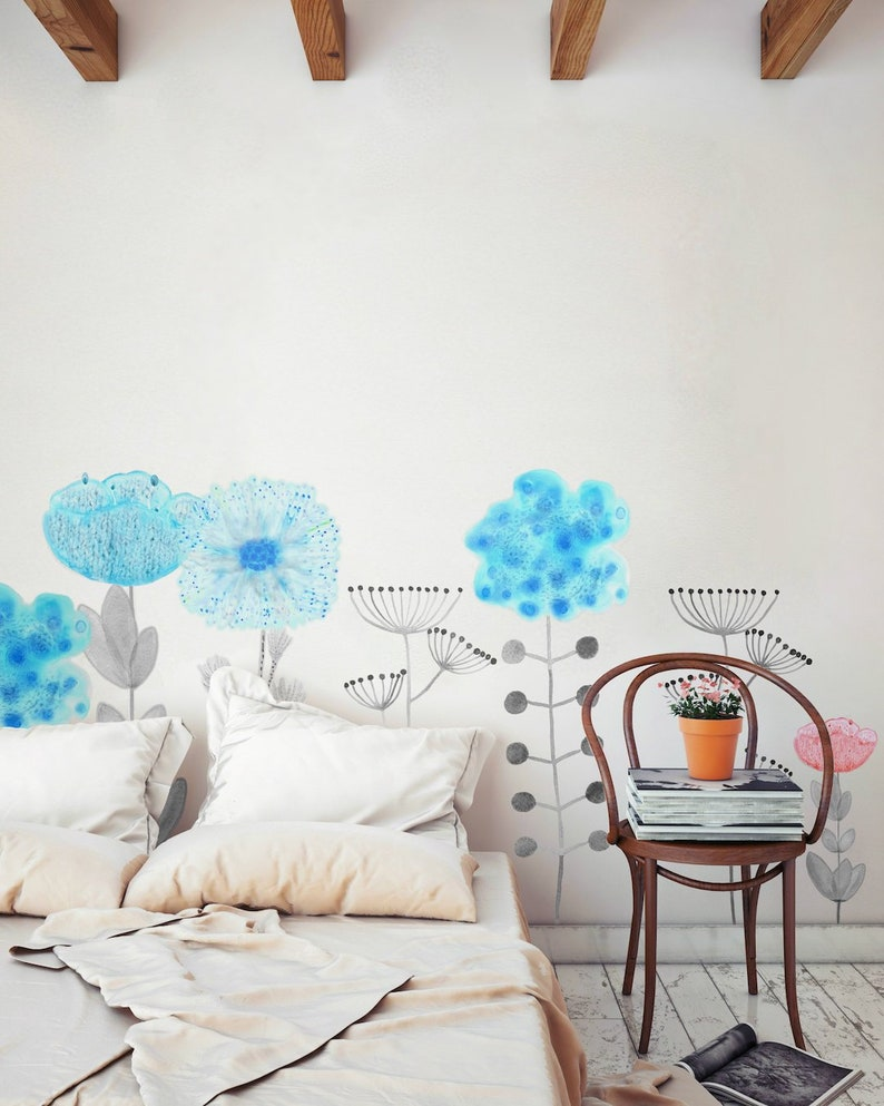 Wall Decal Flower Home Décor Bedroom Décor Floral Wall image 0