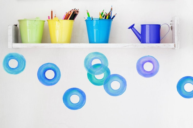 Wall Decals Watercolor Donuts Shades of Blue Tile Decals image 0