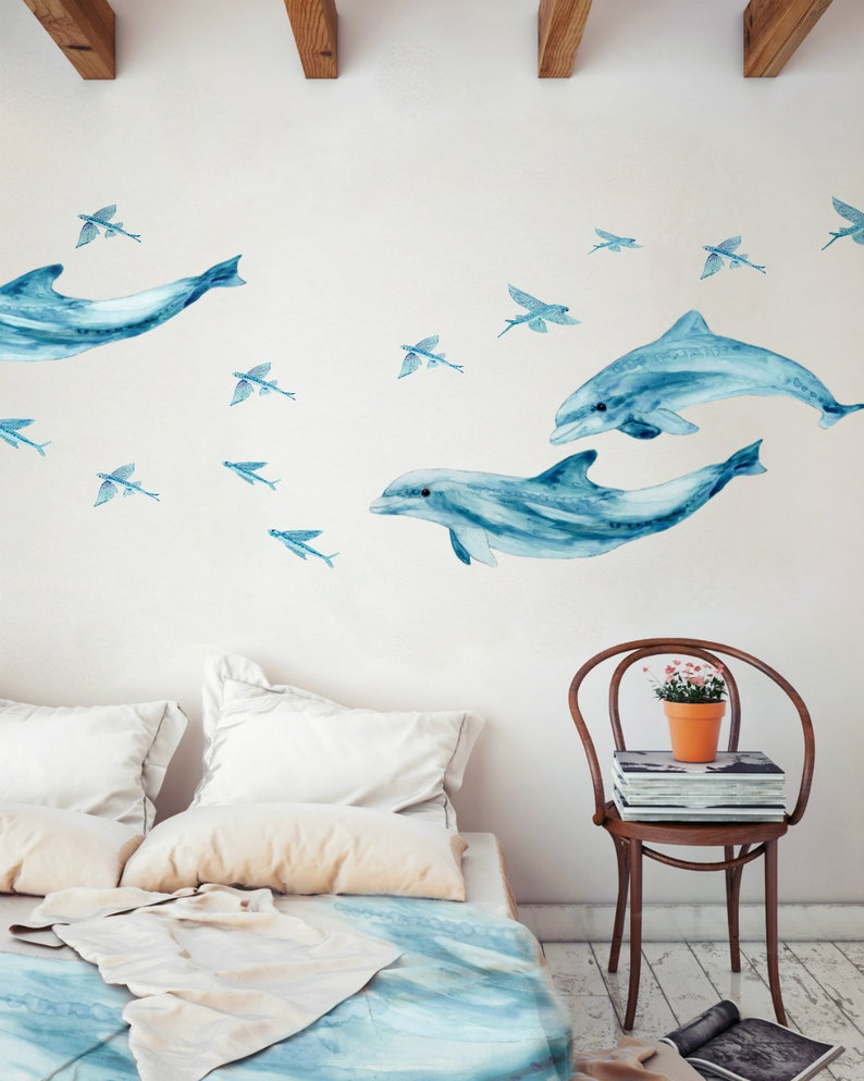 Wall Decals Dolphin Couple Bathroom Decals for Tiles Walls image 0