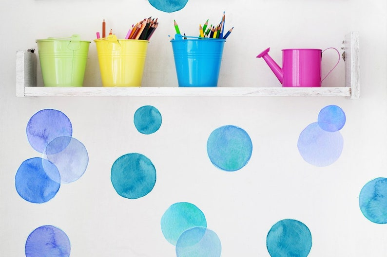 Wall Decals Watercolor Circles Shades of Blue Tile Decals image 0