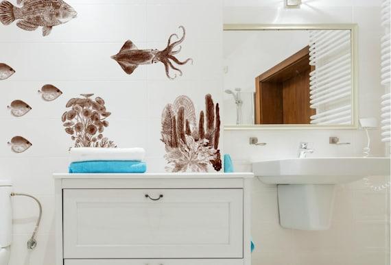 Fische Wandtattoo Badezimmer - Fliesenaufkleber Fische - Farbe Mocca Braun  - Wanddeko fürs Bad - Möbelaufkleber - Vintage Ocean Kollektion