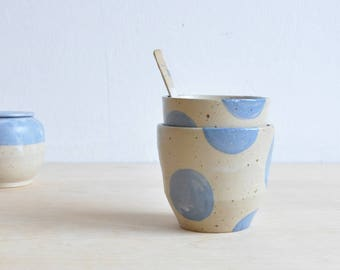 Pottery Cup Set - Spotted coffee mugs handmade - Clay mug - Pottery anniversary gifts - Ceramics and pottery - tea cup set 2, coffee cup set