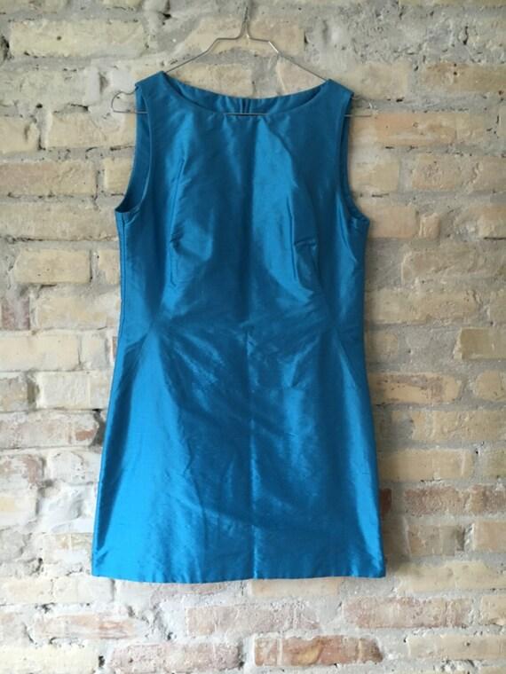 1960s Mini Dress, Raw Silk 1990s Beverly hills dr… - image 3