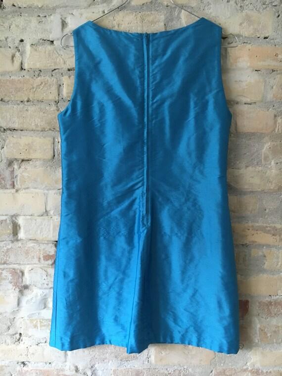1960s Mini Dress, Raw Silk 1990s Beverly hills dr… - image 4