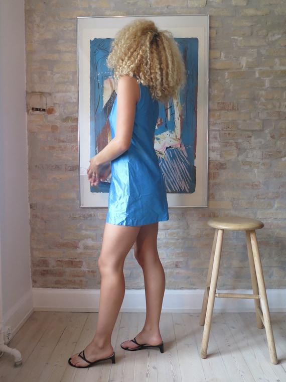 1960s Mini Dress, Raw Silk 1990s Beverly hills dr… - image 2