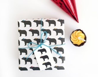 Party Hats Bear Wrapping Paper / Birthday Wrapping paper / Birthday Gift Wrap / Children's Wrapping paper