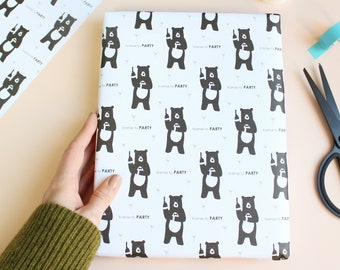 License To Party, Bear Wrapping Paper / birthday wrapping paper / birthday party gift wrap / Bears