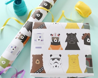 Star Bears Wrapping Paper Birthday Party Gift Wrap Childrens