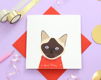 Christmas Siamese cat card