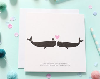 Mr & Mrs / Whale Card / Wedding Day Card / Wedding Card /
