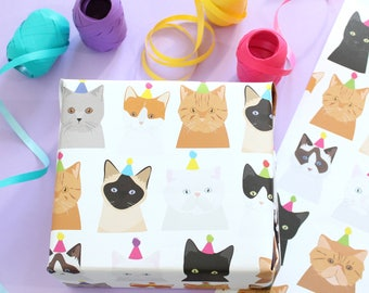 Birthday cat wrapping paper / Birthday Gift wrap / Pussy Cat / Kitten / Cats /