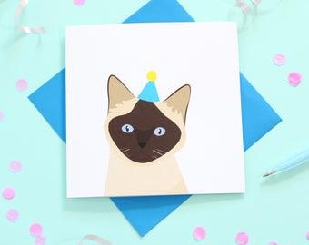 Birthday Siamese cat card