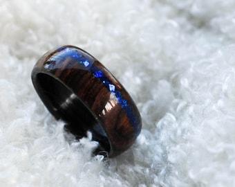 Wood Ring - Cocobolo Ring - Blue Glass Ring - Mens Wood Wedding Band - Mens Wood Wedding Ring - Wooden Rings For Men - Wooden Ring Men