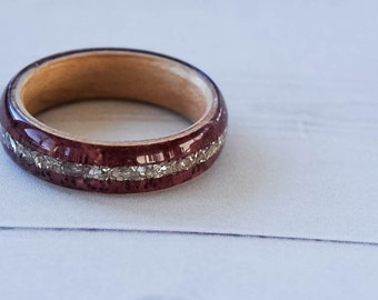 Wood Ring - Purpleheart Wood - Purple Ring - Purple Wedding Band - Womens Wood Ring - Wood Engagement Ring - Wood Wedding Band - Wooden Ring