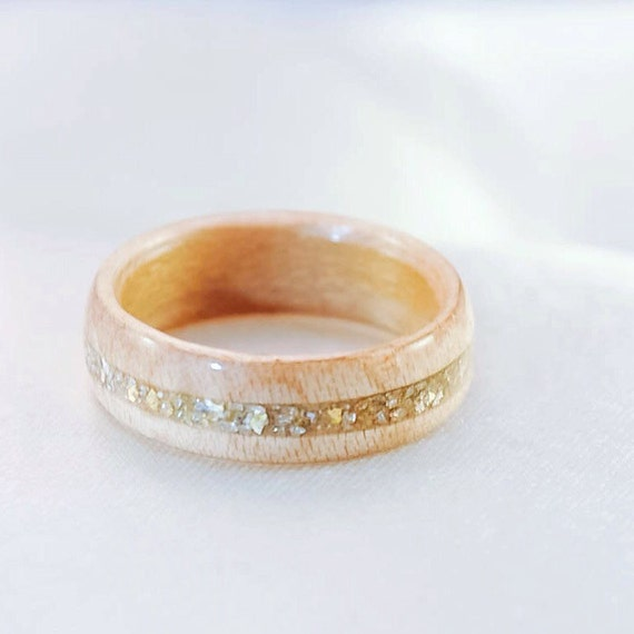 Wood Ring Wooden Wedding Band Gold Ring Wood Rings For Etsy