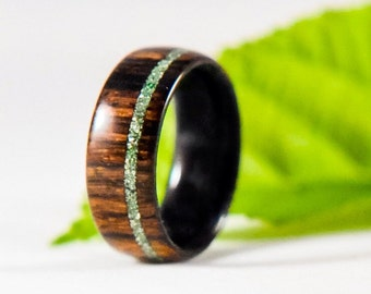Wood Ring - Cocobolo Ring - Green Glass Ring - Men's Wood Ring - Women's Wood Ring - Wood Wedding Bands - Wood Engagement Ring - Anniversary