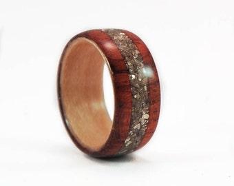 Wood Ring, Hybrid Bubinga Ring | Vintage Silver Glass Inlay |Women's Wood Ring | Womens Band | Wood Engagement Ring | Wooden Wedding Rings