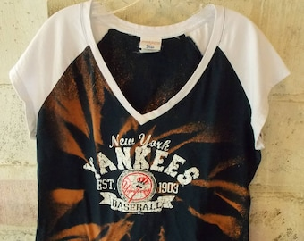 Crop Top New York Yankees Baseball One of a kind Custom Dipped Sun Dyed  Hand Distressed CUT Destroyed T Shirt Women s XL Apocalyptic hipster 23eca86b76a