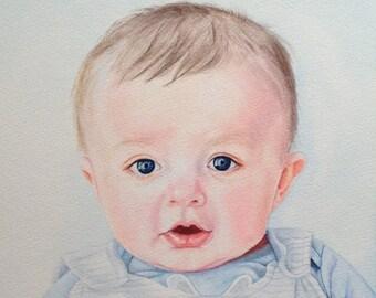 Custom Watercolor Portrait, Custom Painting, Custom Portrait in Watercolor, Baby Portrait, Commission Portrait Painting, Hand painted