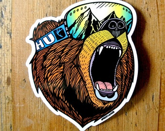 Bear Stickers, Snowboard Stickers, Outdoorsy Adventure Stickers, Mountain Stickers, Helmet Stickers, Laptop Stickers, Cool Travel Stickers