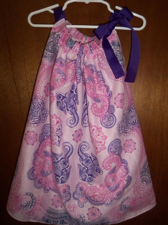 1b3fd6420bc4 Bandana Dress Bandana Top Pink and Purple Elephant. ONE SIZE.