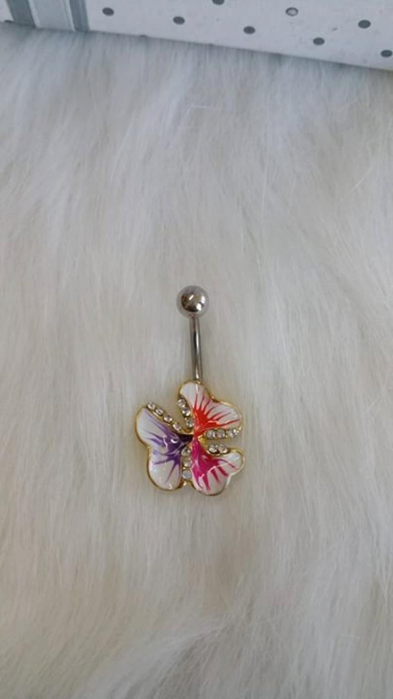Flower/rhinestone belly button ring image 0
