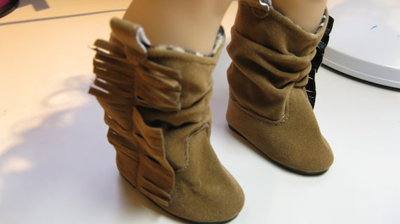 Doll Clothes Fit 18 inch American Girl Tall Brown Faux Suede Fringed Boots