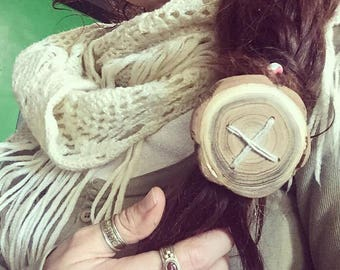 Together we're One - giant wooden hair button - dreadlock accessory