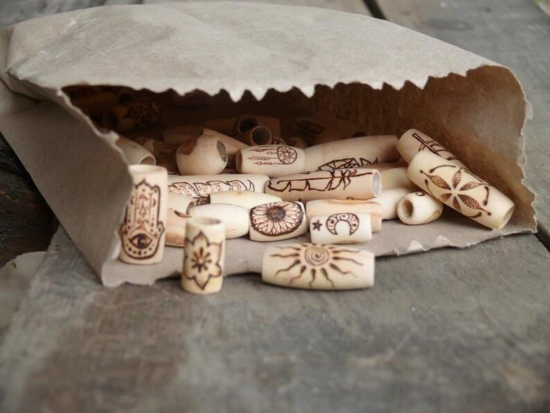natural beads WHOLESALE wooden dread dreadlock beads bulk set beads with symbol