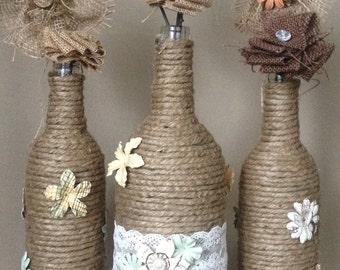 Ficelle d'emballage de bouteilles de vin, Country Chic, pièce maîtresse de la Jute mariage, Shower, rustique, cadeau d'hôtesse