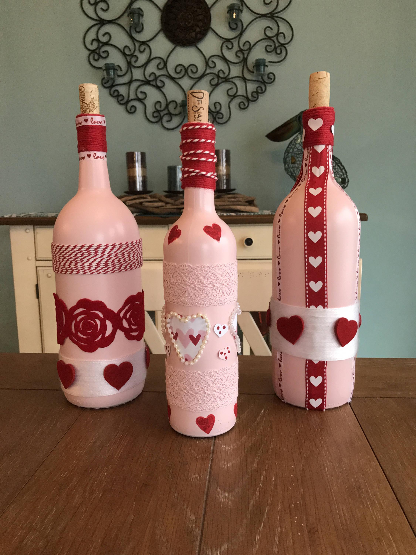 Pink and Red Embellished Wine Bottles Wedding Shower   Etsy