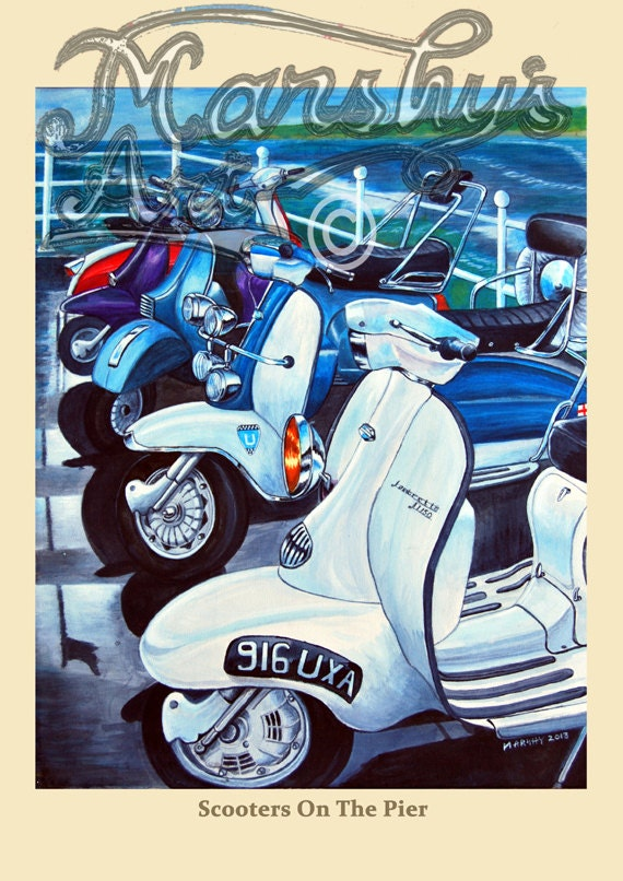Unframed Moped Mod Poster Art Gift Lambretta Scooter Set Of 3 Patent Prints