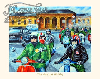 Scooter art print showing Lambrettas and Vespa on a ride out through the town of Whitby