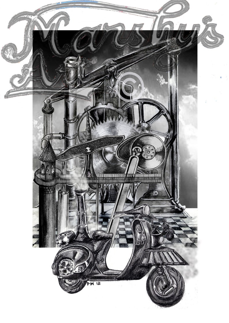 Steampunk Scooter Art print, Steam powered vespa scooter