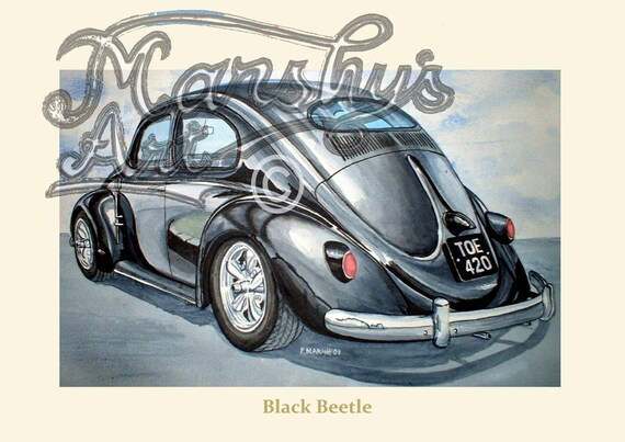vw beetle art print  real classic car  black etsy