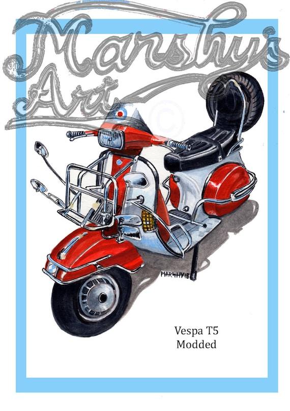 "lambretta fashion mods uk  Vespa scooter art print vintage painting 20/"" x 20/"""