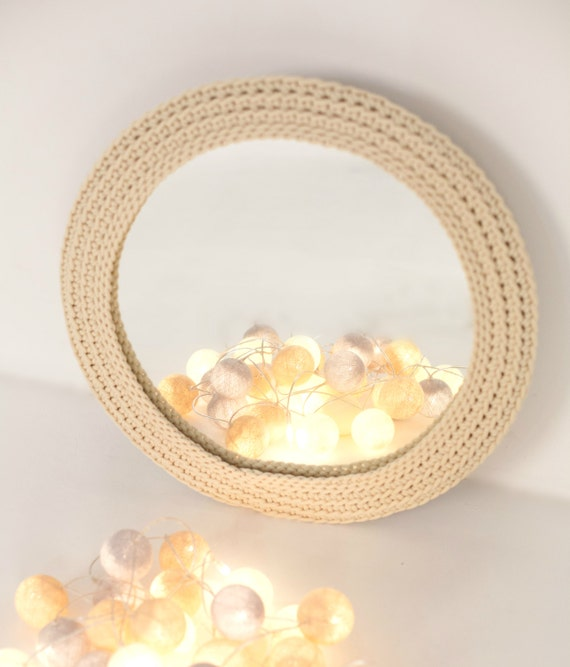 knitted round wall MIRROR / decorative mirror for bathroom