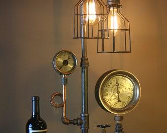 Antique Star Brass Gauge Webster Heating System Steampunk Machine Age Lamp Light