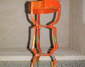 Dollhouse Miniatures Old Orange metal Plant Stand 3 quot