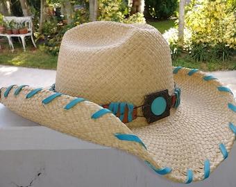e0c2b1398d8 BULLHIDE Straw Hat Cowboy or Cowgirls size Medium style Del Mar