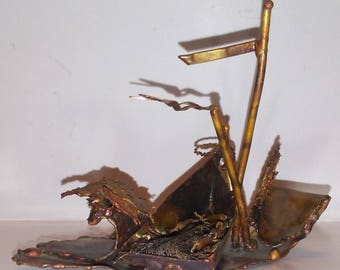 "Vintage Sculpture Welded Copper Fishing Boat signed W. Catts 3 1/2"" 1976"
