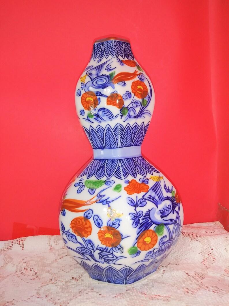 Vintage Japanese Porcelain 8 12 double vase signed