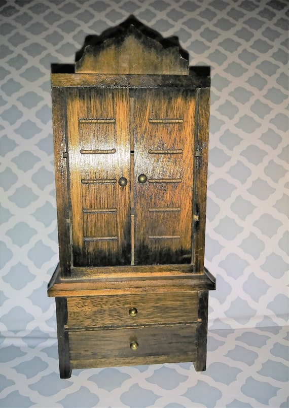 Dollhouse Miniature Dark Wood Armoire Dresser Doors Open And Two Sliding Drawers 7 5 Tall X 3 5 Wide X 1 75 Deep