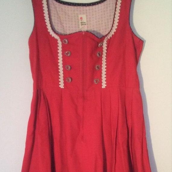 Oktoberfest Rose Dirndl Bavarian Red Dress Medium