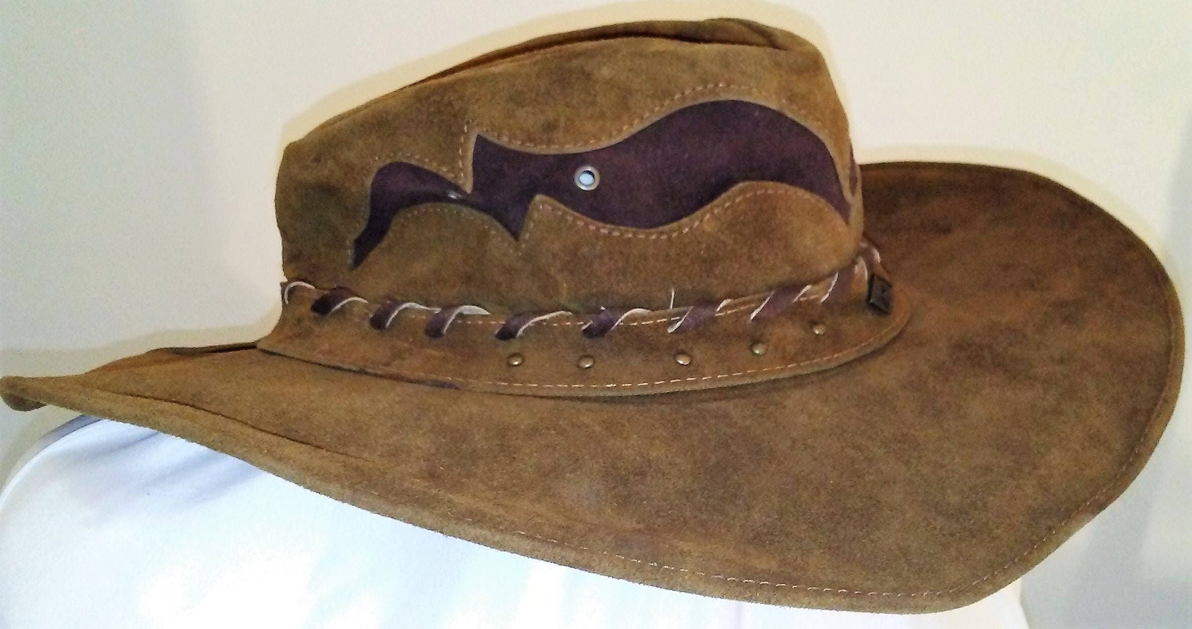 eef0edb8e4b Leather Cowboy Hat Handmade Brown size Large BULLHIDE